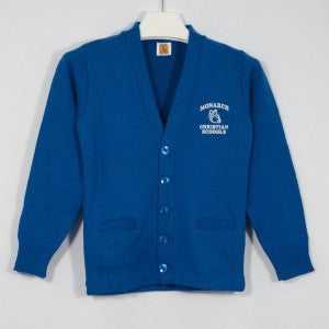 MONARCH CHRISTIAN SCHOOL CLASSIC V-NECK CARDIGAN WITH EMBROIDERED LOGO