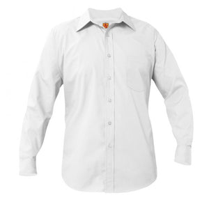 BOYS WHITE LONG SLEEVE BROADCLOTH SHIRT - Appletree Uniforms