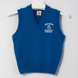 MONARCH CHRISTIAN SCHOOL CLASSIC V-NECK PULLOVER VEST WITH EMBROIDERED LOGO
