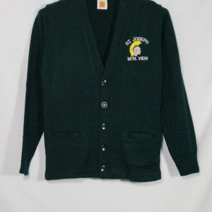ST. JOSEPH MOUNTAIN VIEW CLASSIC V-NECK CARDIGAN WITH EMBROIDERED LOGO - Appletree Uniforms