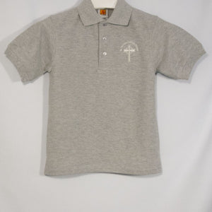 ST. NICHOLAS UNISEX GRAY BANDED SHORT SLEEVE PIQUE KNIT POLO WITH EMBROIDERED LOGO - Appletree Uniforms