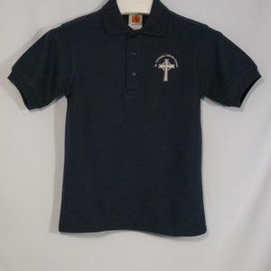 ST. NICHOLAS UNISEX NAVY BANDED SHORT SLEEVE PIQUE KNIT POLO WITH EMBROIDERED LOGO - Appletree Uniforms