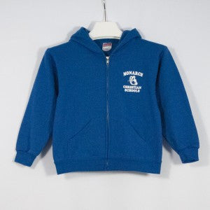 MONARCH CHRISTIAN SCHOOL HEAVYWEIGHT ZIP HOODIE WITH SILKSCREENED LOGO