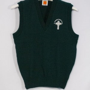 ST. NICHOLAS GREEN CLASSIC V-NECK PULLOVER VEST WITH EMBROIDERED LOGO - Appletree Uniforms