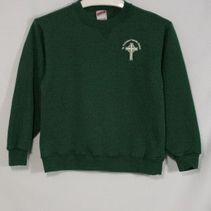 ST. NICHOLAS GREEN HEAVYWEIGHT CREW SWEATSHIRT WITH EMBROIDERED LOGO