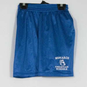 MONARCH CHRISTIAN SCHOOL MINI MESH SHORTS WITH SILKSCREENED LOGO
