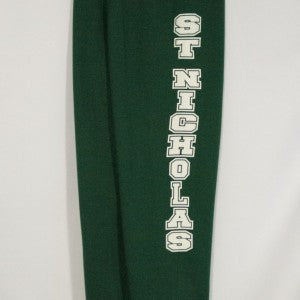 ST. NICHOLAS GREEN BANDED BOTTOM HEAVYWEIGHT SWEATPANT WITH SILKSCREENED LOGO