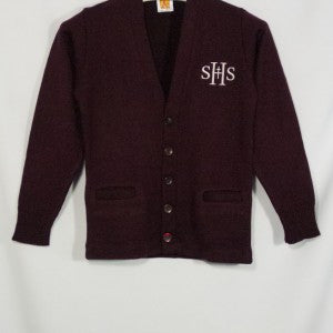 SACRED HEART SCHOOLS CLASSIC V-NECK CARDIGAN WITH EMBROIDERED LOGO