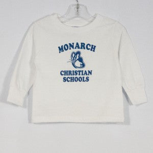 MONARCH CHRISTIAN SCHOOL TODDLER JERSEY LONG SLEEVE T-SHIRT WITH SILKSCREENED LOGO