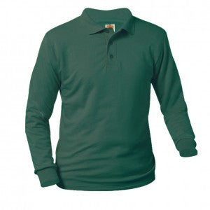 UNISEX DARK GREEN JERSEY KNIT LONG SLEEVE POLO SHIRT - Appletree Uniforms