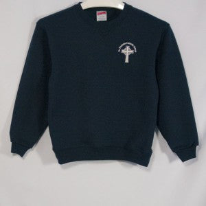 ST. NICHOLAS NAVY HEAVYWEIGHT CREW SWEATSHIRT WITH EMBROIDERED LOGO - Appletree Uniforms