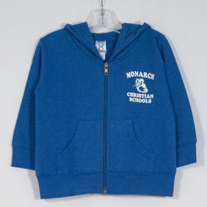 MONARCH CHRISTIAN SCHOOLTODDLER 7.5 Oz FLEECE ZIP FRONT HOODIE WITH SILKSCREENED LOGO