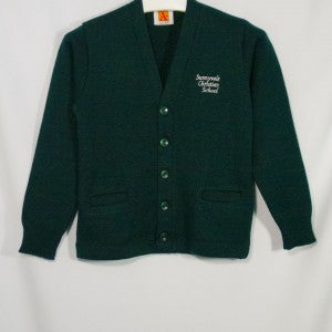 SUNNYVALE CHRISTIAN CLASSIC V-NECK CARDIGAN WITH EMBROIDERED LOGO - Appletree Uniforms