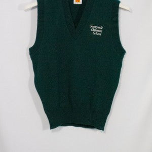 SUNNYVALE CHRISTIAN SCHOOL CLASSIC V-NECK PULLOVER VEST WITH EMBROIDERED LOGO - Appletree Uniforms