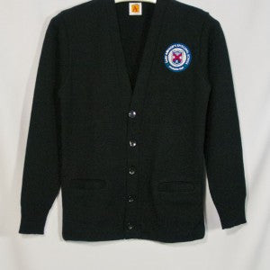 ST. ANDREW CLASSIC V-NECK CARDIGAN WITH EMBROIDERED LOGO WHITE BACKGROUND