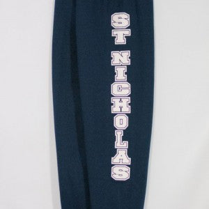 ST. NICHOLAS NAVY BANDED BOTTOM HEAVYWEIGHT SWEATPANT WITH SILKSCREENED LOGO - Appletree Uniforms