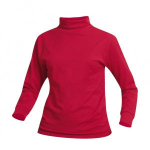 RED UNISEX JERSEY KNIT TURTLENECK