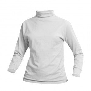 WHITE UNISEX JERSEY KNIT TURTLENECK
