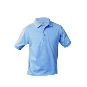 UNISEX LIGHT BLUE BANDED SHORT SLEEVE JERSEY KNIT POLO SHIRT - Appletree Uniforms