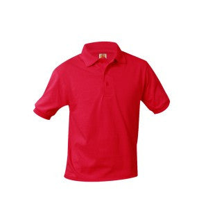 UNISEX RED BANDED SHORT SLEEVE JERSEY KNIT POLO SHIRT