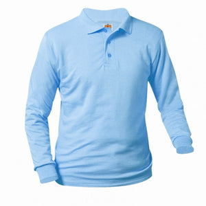 UNISEX LIGHT BLUE JERSEY KNIT LONG SLEEVE POLO SHIRT