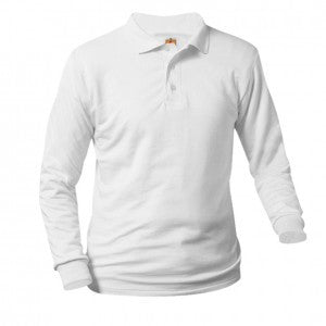 UNISEX WHITE JERSEY KNIT LONG SLEEVE POLO SHIRT - Appletree Uniforms