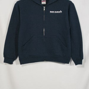 ST. ANDREW NAVY HEAVYWEIGHT ZIPPED HOODIE WITH SILKSCREENED LOGO