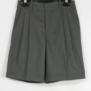 BOYS DARK GRAY TWILL PLEATED FRONT ELASTIC BACK SHORT