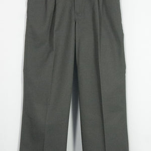 BOYS DARK GRAY TWILL PLEATED FRONT ELASTIC BACK PANT