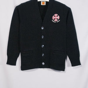 CANTERBURY CHRISTIAN CLASSIC V-NECK CARDIGAN WITH EMBROIDERED LOGO