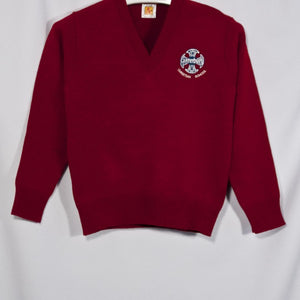 CANTERBURY CHRISTIAN SCHOOL RED CLASSIC V-NECK PULLOVER WITH EMBROIDERED LOGO (6500)