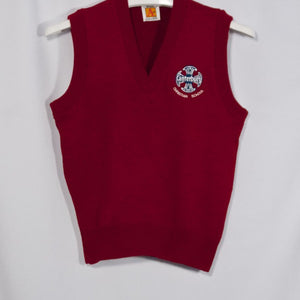 CANTERBURY CHRISTIAN SCHOOL RED CLASSIC V-NECK PULLOVER VEST WITH EMBROIDERED LOGO - Appletree Uniforms