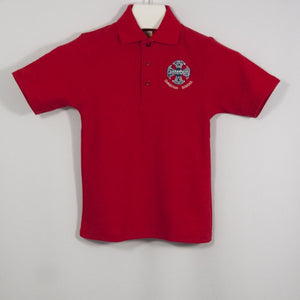 BOYS RED SHORT SLEEVE PIQUE KNIT POLO SHIRT WITH EMBROIDERED LOGO - Appletree Uniforms