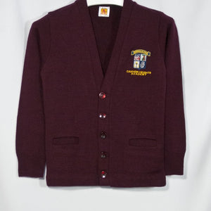 CANYON HEIGHTS CLASSIC V-NECK CARDIGAN WITH EMBROIDERED LOGO - Appletree Uniforms