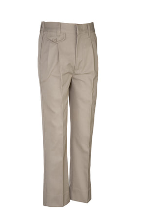 GIRLS KHAKI ELASTIC BACK TWILL PLEATED FRONT PANT