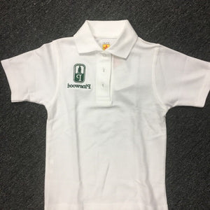 Pinewood White Unisex Banded Short Sleeve Pique Knit Polo With Embroidered Logo - Appletree Uniforms