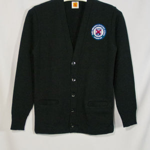 ST. ANDREW CLASSIC V-NECK CARDIGAN WITH GREEN EMBROIDERED LOGO