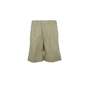 BOYS HUSKY KHAKI RELAXED FIT PLAIN FRONT ADJUSTABLE WAIST SHORT - Appletree Uniforms