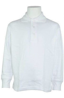 WHITE UNISEX BANDED LONG SLEEVE JERSEY KNIT POLO SHIRT WITH LOGO