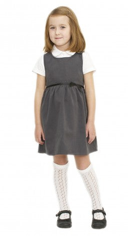 Grey Pinafore with a stylish bow feature and a coconut shell button, Organic Cotton
