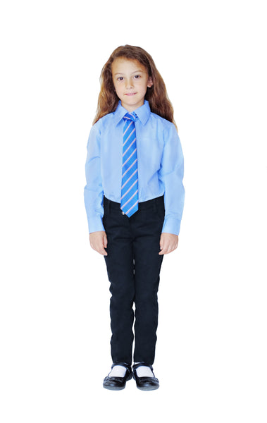 Pure Organic Cotton Girls' Classic School Trousers with Adjustable Waist