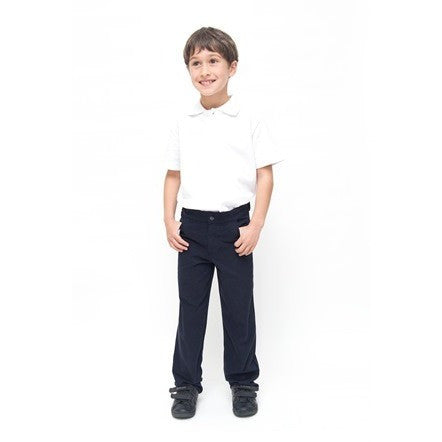Boys Slim Fit Pure Cotton School Trousers, Navy