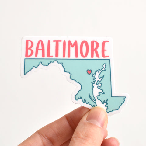 Baltimore Sticker - Aqua and Coral