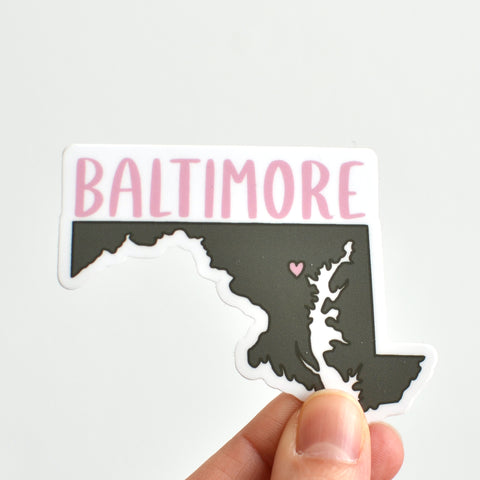 Baltimore Sticker - Olive Green and Rose
