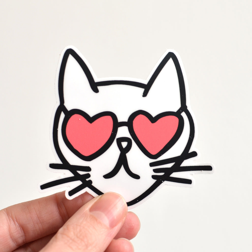 Cat Heart Glasses Sticker