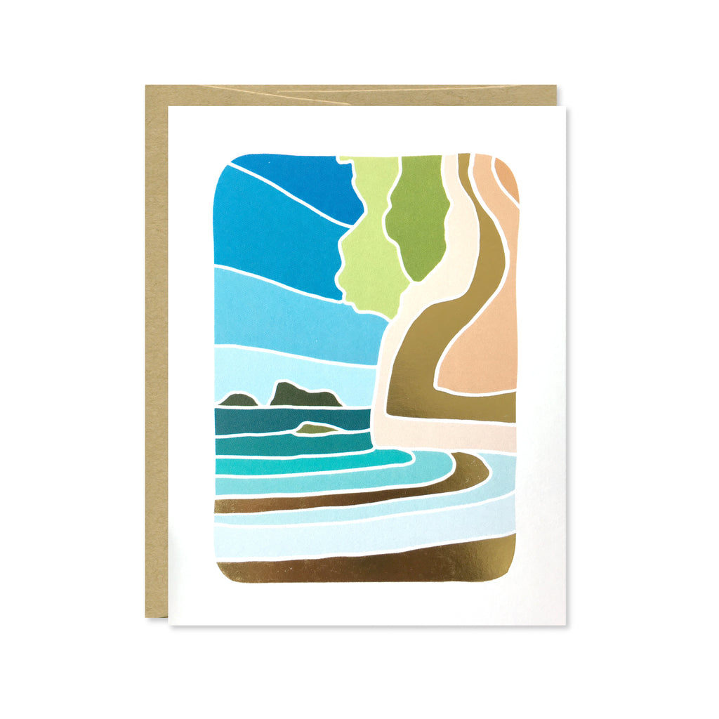 Cathedral Cove Gold Foil Card