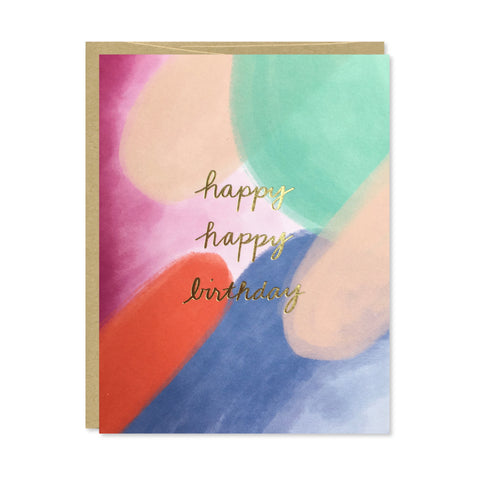 Happy Happy Birthday Gold Foil Card