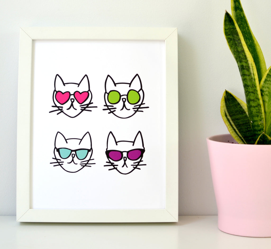 Cats in Glasses Print