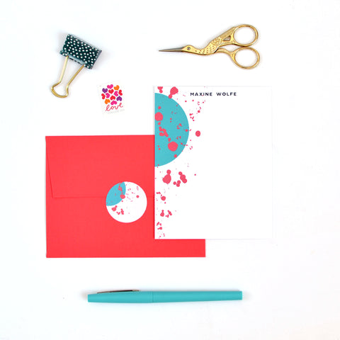 Circle Splatter Stationery Set