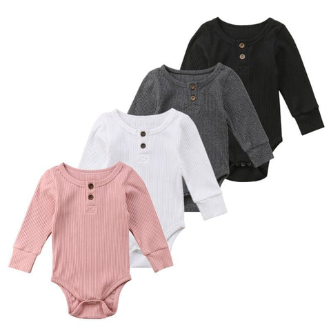 0c0defa6e6ed 0-24 M Basic Long Sleeve Cotton Romper Bodysuit
